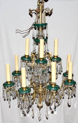 012216 ITALIAN CRYSTAL  BRASS TWELVE LIGHT CHANDELIER