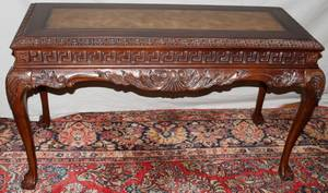 030196 CHIPPENDALE STYLE CARVED WOOD SOFA TABLE H 31