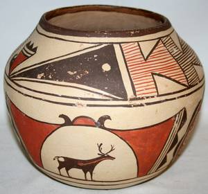 030176 AMERICAN SOUTHWEST PAINTED POTTERY VASE ZUNI