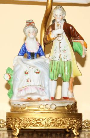 020207 FRENCH PORCELAIN FIGURAL TABLE LAMP C1950 H 8