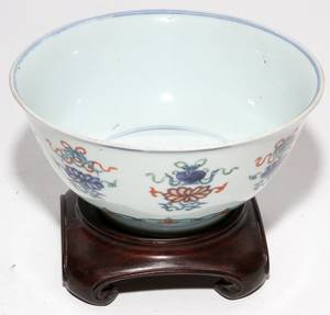 CHINESE PORCELAIN BOWL 19TH C H 4 DIA 8