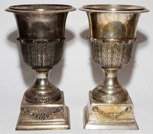 NEOCLASSICAL STYLE SILVERPLATE URNS PAIR H 13