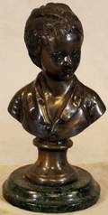 010210 BRONZE BUST OF YOUNG BOY H 9 12 L 5