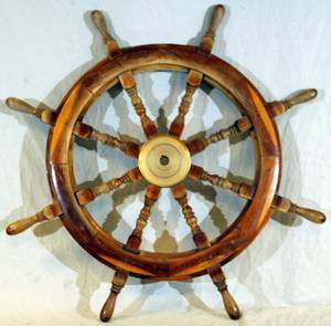 010198 WOOD AND BRASS SHIPS WHEEL DIA 36