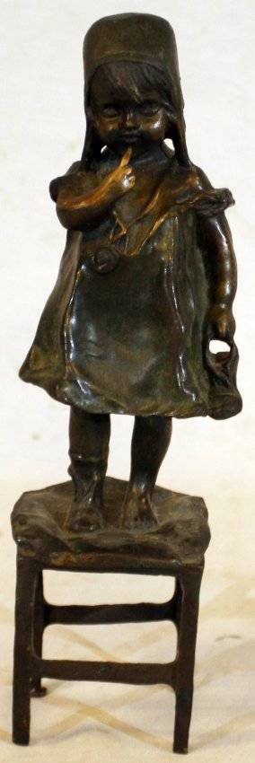 010208 JEAN CLARA BRONZE SCULPTURE GIRL ON CHAIR