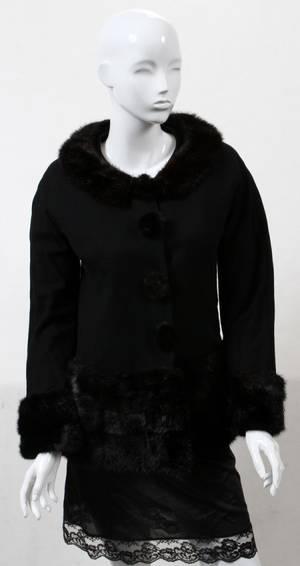 121327 MINKTRIMMED BLACK WOOL SWING COAT C 1960S