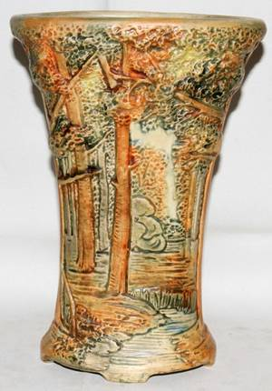 Realized Price For 031345 Weller Pottery Forest Vase