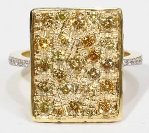 022248 2CT YELLOW DIAMOND PAVE RING  SIDE DIAMONDS