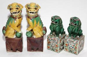 CHINESE GLAZED POTTERY FOO DOGS FOUR