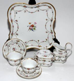 OLD PARIS PORCELAIN BREAKFAST SET ON TRAY