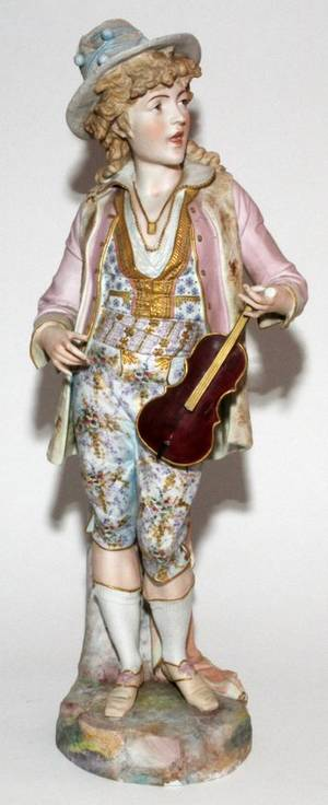 FRENCH BISQUE FIGURE OF A BOY WITH VIOLIN