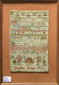 Silk on linen sampler dated 1812 wrought by Dorothy Bolan