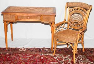 022289 WICKER AND BENT WOOD WRITING DESK AND CHAIR