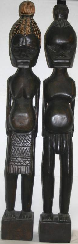 020304 AFRICAN CARVED WOOD FERTILITY FIGURES 2 PCS