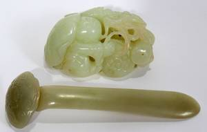 012288 CHINESE JADE CARVINGS TWO L 25 4