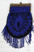 011402 BEADED PURSE WITH ROYAL BLUE  BLACK BEADS W 6
