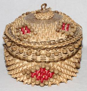 NATIVE AMERICAN INDIAN GRASS COVERED BASKET