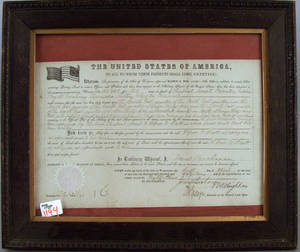 James Buchanan signed land grant dated 1859 for Alfred Scott