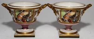 SPODE ENGLISH PORCELAIN URNS 19TH C PAIR H 4