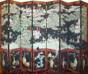 CHINESE HAND PAINTED EIGHT PANEL SCREEN H 92