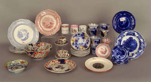 Andrew Jackson Staffordshire plate and seven Gaudy ironstone cups and saucers