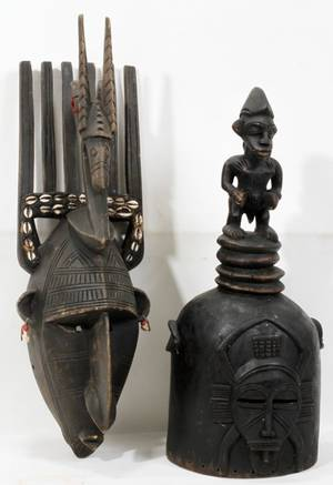 010300 CARVED WOOD AFRICAN MASKS TWO