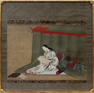 122291 JAPANESE WATERCOLOR ON SILK 19TH C 13 X 19