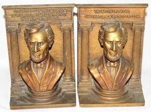 021395 BRADLEY  HUBBARD METAL LINCOLN BOOKENDS