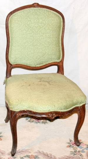 021407 LOUIS XV FRENCH 18TH C WALNUT SIDE CHAIR