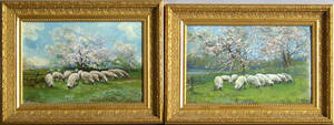 Pair of oil on canvas landscapes with sheep