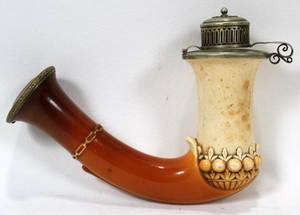 CARVED MEERSCHAUM PIPE BOWL 19TH C L 5