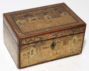 CHINESE LACQUER TEA CADDY 19TH C H 3 14