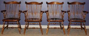 MAHOGANY SPINDLE BACK DINING CHAIRS FOUR