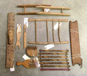 Woodenware to include 2 flax combs