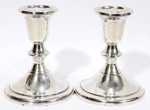 030360 STERLING CANDLE HOLDERS PAIR H 4