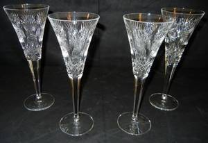 022378 WATERFORD CUT CRYSTAL WINE GLASSES FOUR H 9