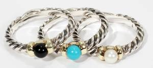 021437 DAVID YURMAN 18KT WGOLD STACK RINGS WPEARL