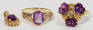 021449 14KT GOLD  AMETHYST RINGS 2  A PENDANT