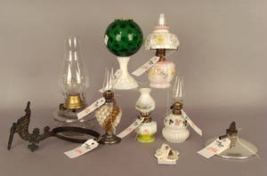 Four miniature milk glass fluid lamps