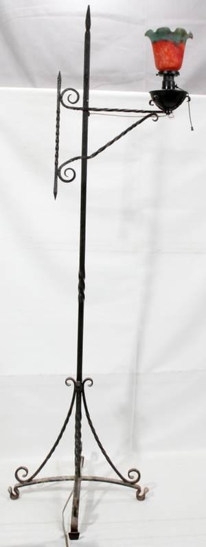 011463 ARTS  CRAFTS IRON FLOOR LAMP LATE 19TH C