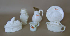 Six pcs of milk glass Provenance The Estate of Anne Brossman Sweigart