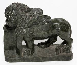 MARBLE SCULPTURE H 6 L 7 LION OF ST MARK