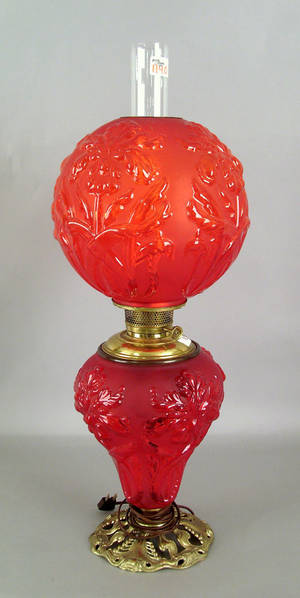 Frosted ruby glass table lamp Provenance The Estate of Anne Brossman Sweigart