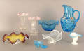 Misc group of Victorian glass tableware to include ruffled rim vases