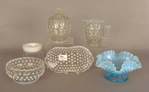 Six pcs of hobnail glass Provenance The Estate of Anne Brossman Sweigart