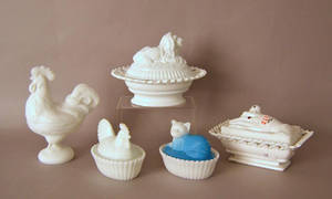 Five milk glass candy containers Provenance The Estate of Anne Brossman Sweigart