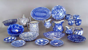 Group of blue spongeware Provenance The Estate of Anne Brossman Sweigart