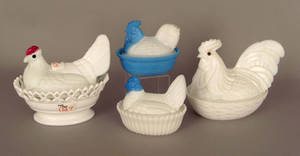 Four milk glass hen on nests Provenance The Estate of Anne Brossman Sweigart