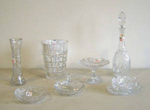 Eight pcs of cut glass Provenance The Estate of Anne Brossman Sweigart