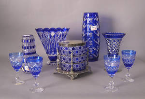 Group of cobalt cut to clear glass to include a biscuit jar Provenance The Estate of Anne Brossman Sweigart